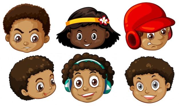 Conjunto de cabezas afroamericanas