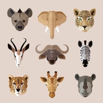 Conjunto de cabezas de animales africanos. hiena, elefante, jaguar, gacela, búfalo, cebra, leopardo, jirafa y rinoceronte.
