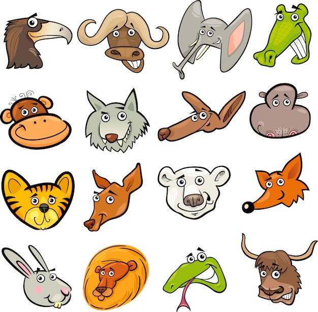 Conjunto de cabezas de animales salvajes de dibujos animados