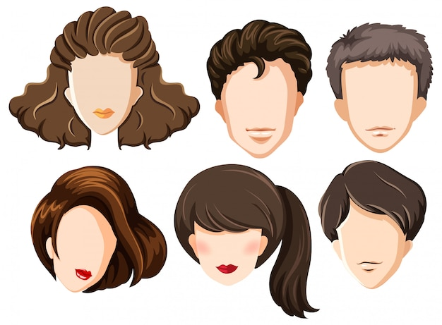 Conjunto de cabezas en blanco