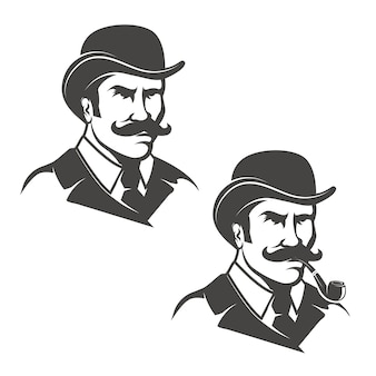 Conjunto de cabezas de caballero con pipa sobre fondo blanco. imágenes para logotipo, etiqueta, emblema, signo. ilustración.