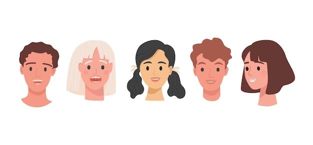 Conjunto de cabezas humanas con tirantes en los dientes ilustración plana