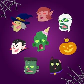 Conjunto de cabezas de monstruo de halloween