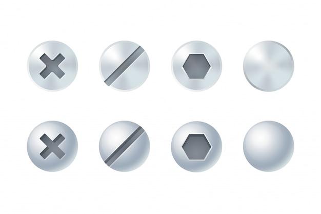 Conjunto de cabezas de tornillo y perno, diferentes tipos y formas. elementos de diseño aislado.