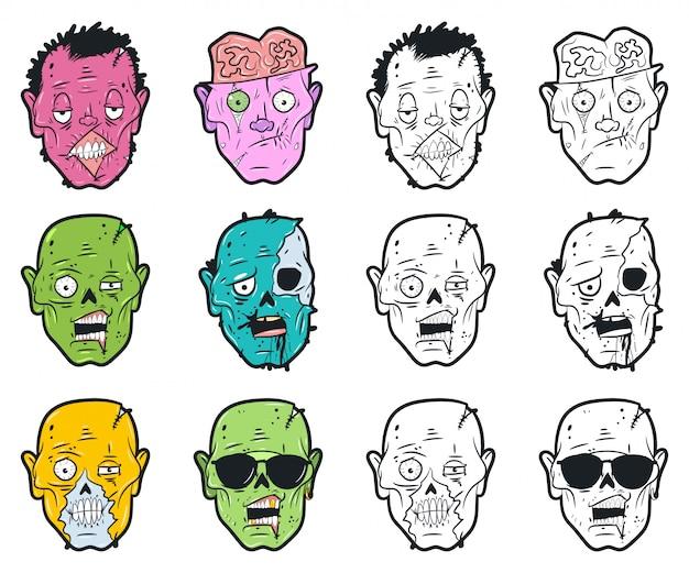 Conjunto de cabezas de zombie.