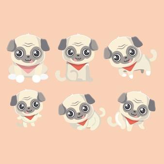 Conjunto de los cachorros de divertidos dibujos animados pugs.