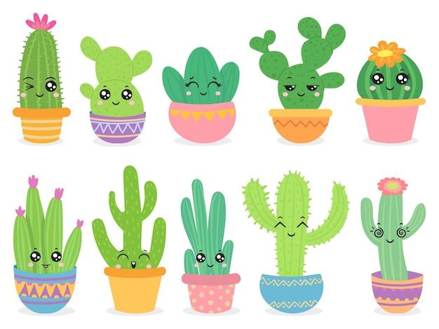 Conjunto de cactus de dibujos animados
