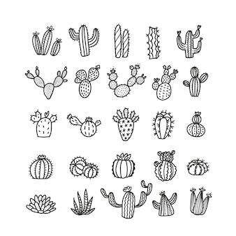Conjunto de cactus en estilo de línea