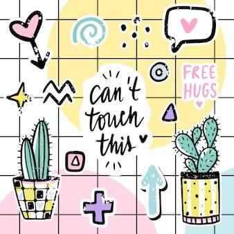 Conjunto con cactus, frases positivas, elementos.