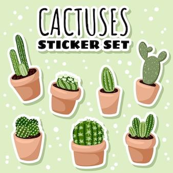 Conjunto de cactus higge en macetas pegatinas de plantas suculentas.