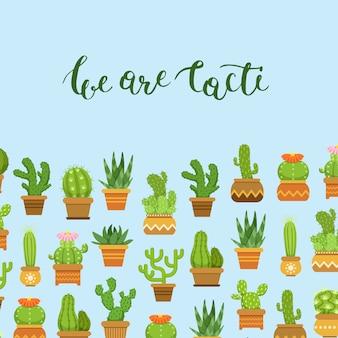 Conjunto de cactus en macetas