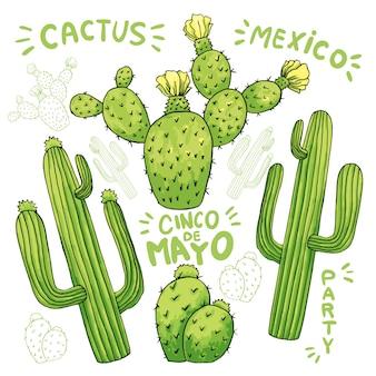 Conjunto de cactus o cactus comestibles para cinco de mayo.