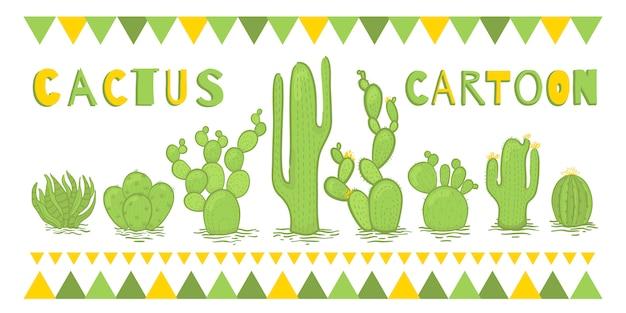 Conjunto de cactus de pie en una fila de verde.