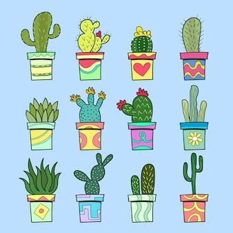 Conjunto de cactus y suculentas. dibujos animados de plantas en macetas. ilustración vectorial