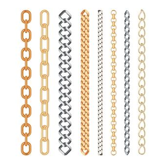 Conjunto de cadena de oro y plata de moda aislado
