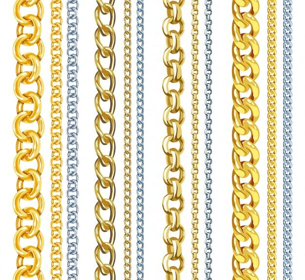 Conjunto de cadenas de oro y plata de vector realista