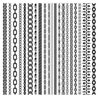 Conjunto de cadenas verticales negras