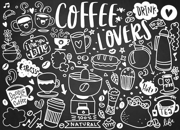 Conjunto de café dibujado a mano y deliciosos dulces. ilustración vectorial