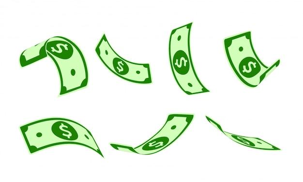 Conjunto de caída del dólar estadounidense, animación lista. notas de papel del usd volando en el aire. usa dinero en siete