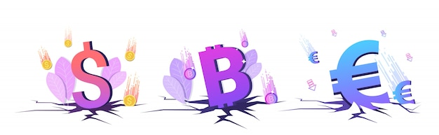 Conjunto caído en el precio moneda cayendo bitcoin monedas de dólar y euro crisis financiera quiebra inversión riesgo conceptos colección espacio de copia horizontal