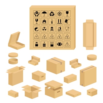 Conjunto de caja de cartón y símbolos de embalaje.