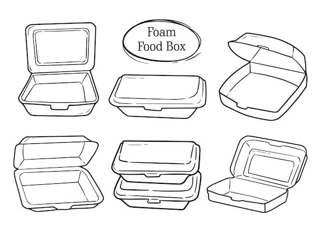 Conjunto de caja de comida de espuma colección de dibujo de doodle
