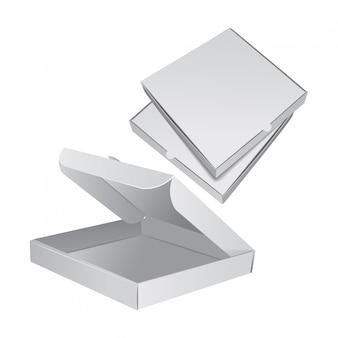Conjunto de caja de embalaje para pizza. ilustración realista