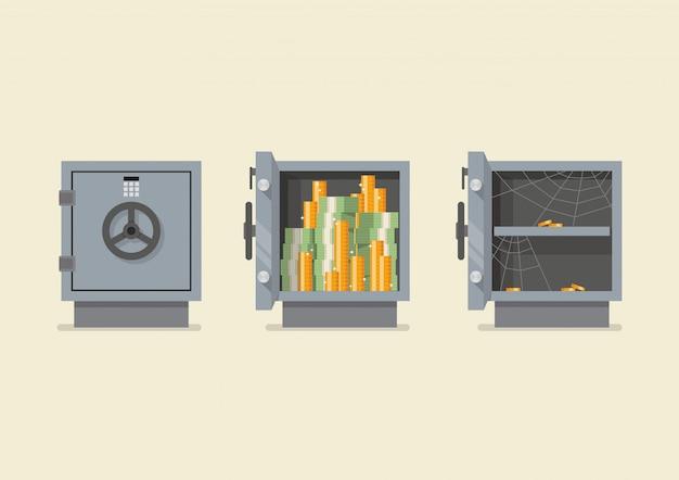 Conjunto de caja fuerte metálica de seguridad.