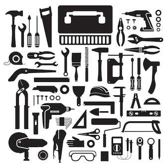 Conjunto de caja de herramientas de trabajo manual de concepto de diseño plano