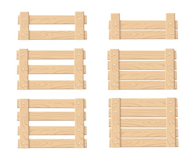 Conjunto de caja de madera para guardar verduras y frutas, cajas de alimentos, vista frontal, ilustración sobre fondo blanco.