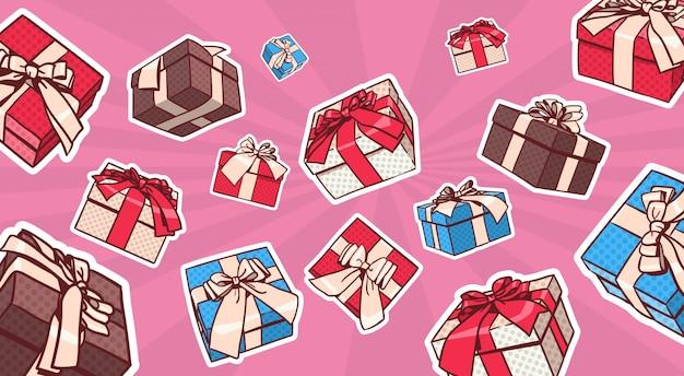 Conjunto de caja de regalo colorida estilo pop art retro de regalos con cinta y arco sobre fondo de puntos