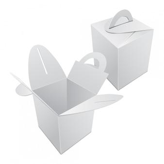 Conjunto de caja de regalo de papel kraft en blanco. contenedor blanco con asa. plantilla de caja de regalo, paquete de cartón