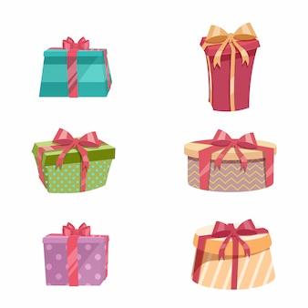 Conjunto de caja de regalo vintage de diseño de moda de dibujos animados. cajas amarillas, rojas, verdes, azules, punteadas, rayadas con cintas rojas y doradas.