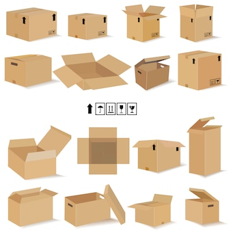 Conjunto de cajas abiertas y cerradas