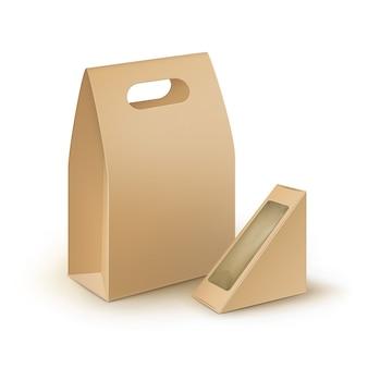 Conjunto de cajas de almuerzo con asa para llevar, triángulo, rectángulo de cartón en blanco marrón, embalaje para sándwich, comida, regalo, otros productos con ventana de plástico mock up close up isolated