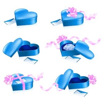Conjunto de cajas azules en forma de corazón