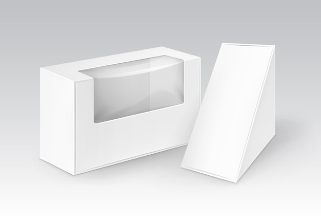 Conjunto de cajas de cartón blancas en blanco rectángulo triangular para llevar embalaje para sándwich, comida, regalo, otros productos con ventana de plástico simulacro de cerca aislado
