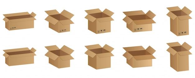 Conjunto de cajas de cartón, productos frágiles ilustración vectorial