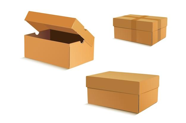Conjunto de cajas de cartón realistas sobre fondo blanco.