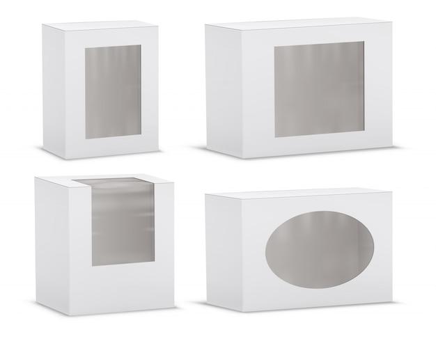 Conjunto de cajas de cartón realistas vacías con ventanas transparentes