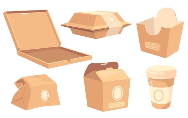 Conjunto de cajas y contenedores de dibujos animados para alimentos y bebidas