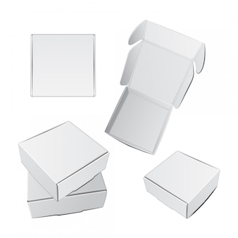 Conjunto de cajas cuadradas blancas.