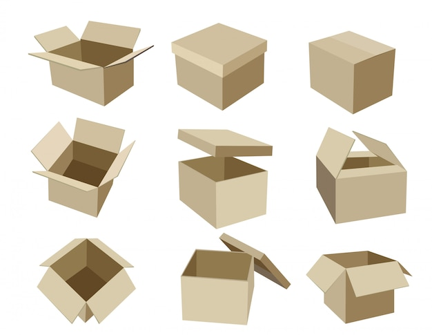 Conjunto de cajas de empaquetado isométrico de empaquetado de paquetes