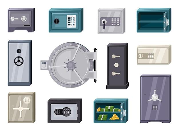 Conjunto de cajas fuertes modernas