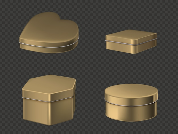 Conjunto de cajas de lata dorada