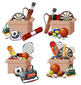 Conjunto de cajas llenas de equipos deportivos en blanco