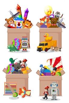 Conjunto de cajas llenas de juguetes en blanco