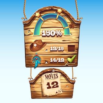Conjunto de cajas de madera para la interfaz de usuario de un juego de computadora.