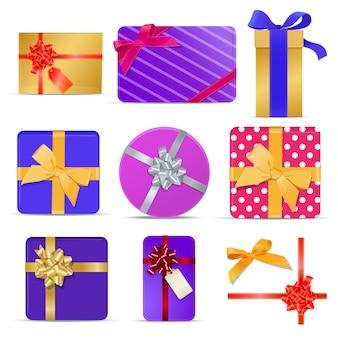 Conjunto de cajas de regalo de colores con cintas y lazos