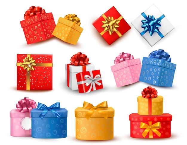 Conjunto de cajas de regalo de colores con lazos y cintas.